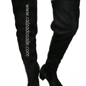 Bota maxi ALTA para dama soporte en pierna con agujetas tacón 4cm