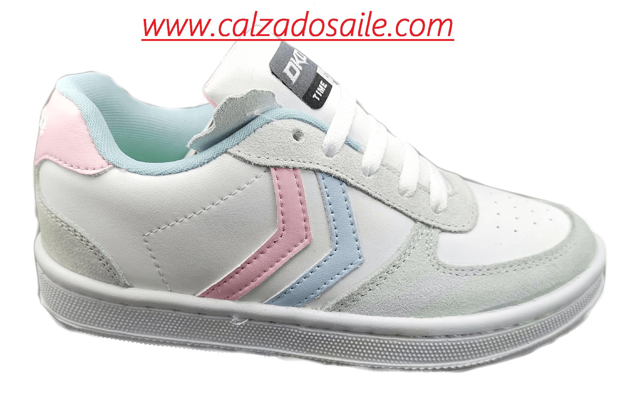 Tenis piel DKDA 7091 bco azul rosa 0 (1)